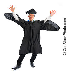 University student graduation jumping - Full body excited...
