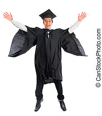 Graduate university student jumping high - Full body excited...