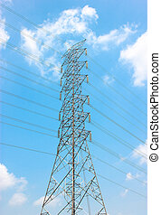 High Voltage Pole With Blue Sky Background