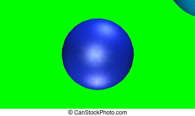 Abstract movie, one textured blue sphere penetrates the mass of the second sphere, video animation on green screen