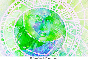 astrological symbol Zodiac. Abstract color background. Computer collage. Glass effect.