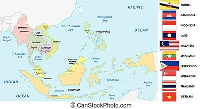 Association of southeast asian nations (ASEAN) map with flags