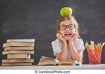 Child is learning to read - Back to school and happy time!...
