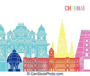 Chennai skyline pop in editable vector file