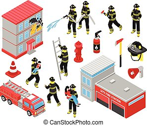 Fire Department Isometric Icons Set - Fire department...