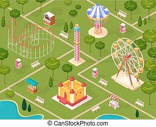Amusement Park Isometric Seamless Pattern