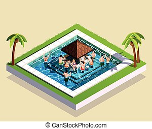 Friends In Water Park Isometric Illustration - Young friends...
