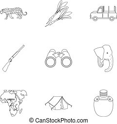 Rifle, mask, map of the territory, diamonds and other equipment. African safari set collection icons in outline style vector symbol stock illustration web.