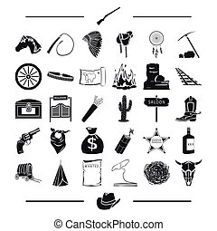fever, tourism, entertainment and other web icon in black style., bank, Texas, Gold, icons in set collection.