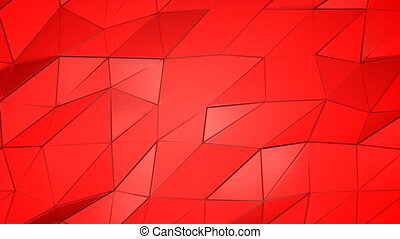 Red scarlet poly abstract animation background