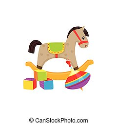 Vector toys. cubics ,rocking horse, whirligig toy - Set of...