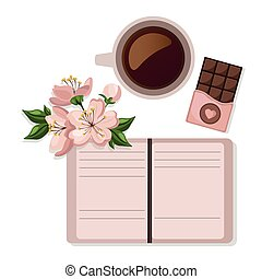 Coffee cup and sweets delicious Vector. Modern icons for...