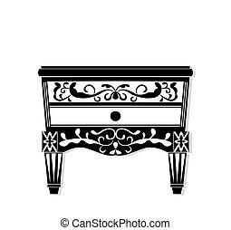Vintage black furniture Vector. Rich carved ornaments...