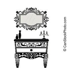 Vintage black furniture set Vector. Rich carved ornaments...