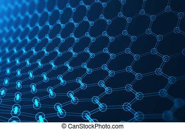 3d rendering nanotechnology, glowing hexagonal geometric...