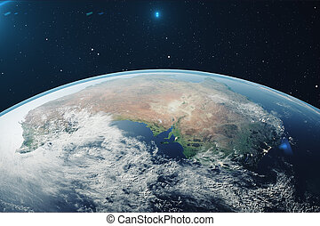 3D Rendering Planet earth from the space at night. The World...