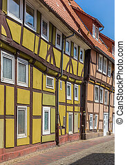 Street with colorful half-timbered houses in Rinteln,...