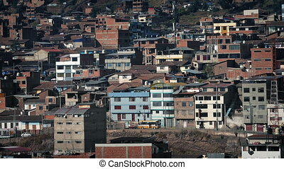 Residential Area In Developing Country On Sunny Day - Buses...