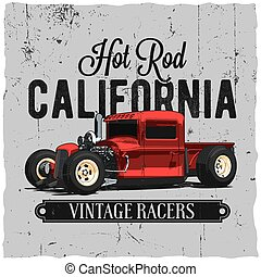 Hot Rod California Vintage Poster