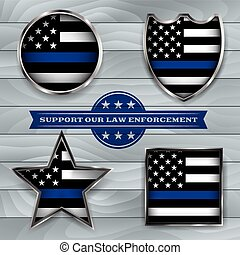 Police Support Flag Badge Illustration - American flag...