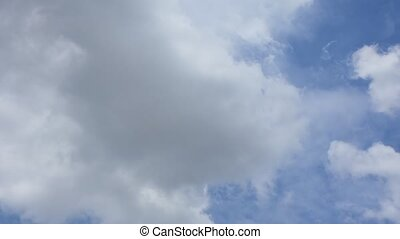Blue sky cloud; Timelapse - Nature cloudscape with blue sky...