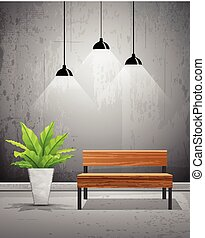 Vector tropical tree in cement pots with wooden chair in and...