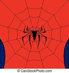 Vector black web with spider on red background. - Black web...