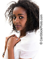 African woman on white - Young attractive Ethiopian woman...