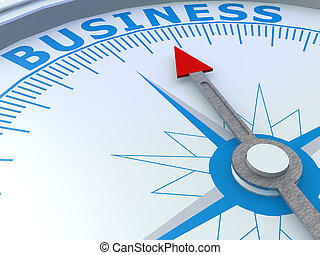 Business word on compass isolated, 3D rendering