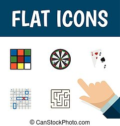 Flat Icon Play Set Of Cube, Sea Fight, Ace And Other Vector Objects. Also Includes Gambling, Ace, Darts Elements.