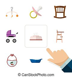 Flat Icon Baby Set Of Mobile, Tissue, Pinafore And Other...