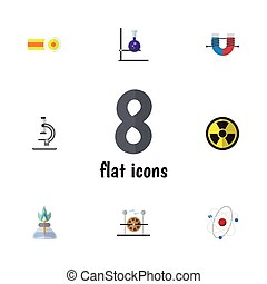 Flat Icon Knowledge Set Of Glass, Attractive Force, Flask...