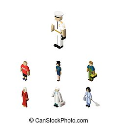 Isometric Person Set Of Policewoman, Plumber, Housemaid And Other Vector Objects. Also Includes Policewoman, Guy, Girl Elements.
