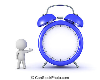 3D Character Showing an Alarm Clock - 3D character showing a...
