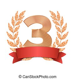 3rd Trophy Award Vector. Third Bronze Placement Achievement. Figure 3 Three In A Realistic Bronze Laurel Wreath. Red Ribbon. Isolated Illustration