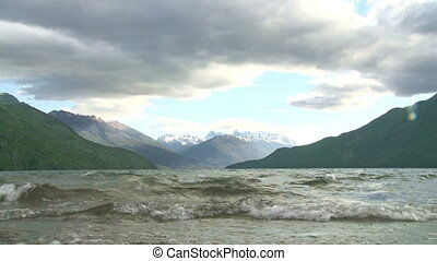 "Lake ""Lago Puelo"" in Argentina - View of mountain lake ""Lago..."