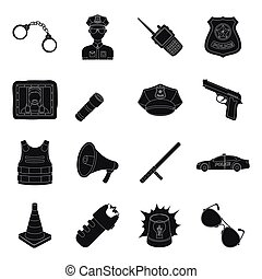Police set icons in black style. Big collection of police...