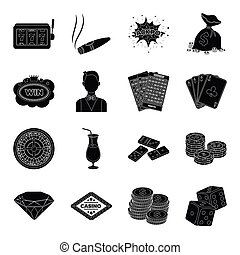 Roulette, cards, croupier, alcohol, and other attributes....