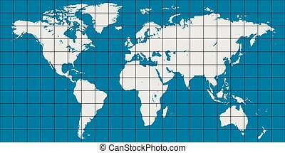 world map with coordinate grid and meridian and parallel,...