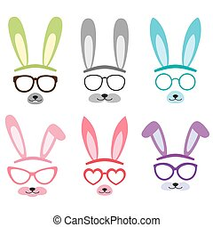 Set of cartoon vector bunny ears - Set of cartoon vector...