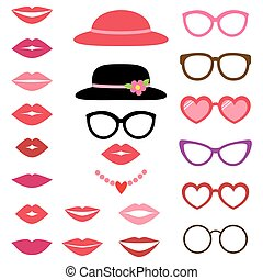 Lady photo booth set - Lady photo booth vector set with...