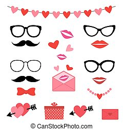 Valentine photo booth set - Valentine photo booth vector set
