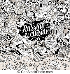 Cartoon cute doodles Russian food frame design - Cartoon...