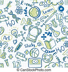 School seamless pattern on squared paper