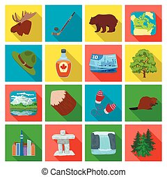 Wild animal, deer, horns and other Canada elements. Canada set collection icons in flat style vector symbol stock illustration web.