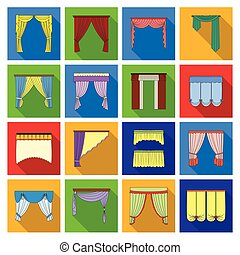 Fabric, textiles, interior and other curtains elements. Curtains set collection icons in flat style vector symbol stock illustration web.