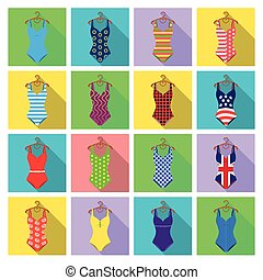 To relax on the beach, a pool of colorful swimsuits. Swimsuits set collection icons in flat style vector symbol stock illustration web.