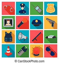 Police set icons in flat style. Big collection of police...