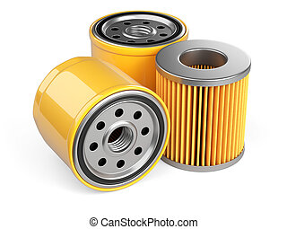 A set of new oil filters. Automobile spare part. 3d...