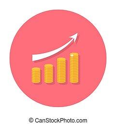 Growing chart flat icon